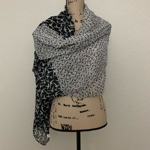 Accessories - Black and White Bird Print Colorblock Scarf OS